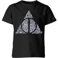 Harry Potter Deathly Hallows Text Kids' T-Shirt - Black - 7-8 Years - Black from Harry Potter