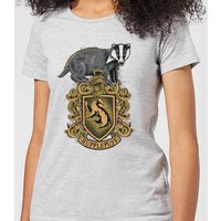 Harry Potter Hufflepuff Drawn Crest Women's T-Shirt - Grey - S - Grey from Harry Potter