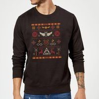 Harry Potter Knit Christmas Sweatshirt - Black - 5XL - Black from Harry Potter