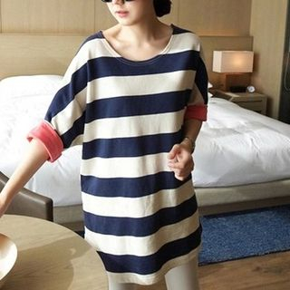 Stripe 3/4-Sleeve T-Shirt from Hasel