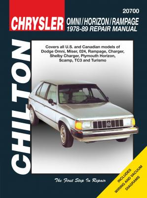 Chrysler Omni/Horizon/Rampage Chilton Repair Manual for 1978-89 covering all models of Dodge Omni, Miser, 024, Rampage, Charger (1979-89) and Shelb... from Haynes Manuals US