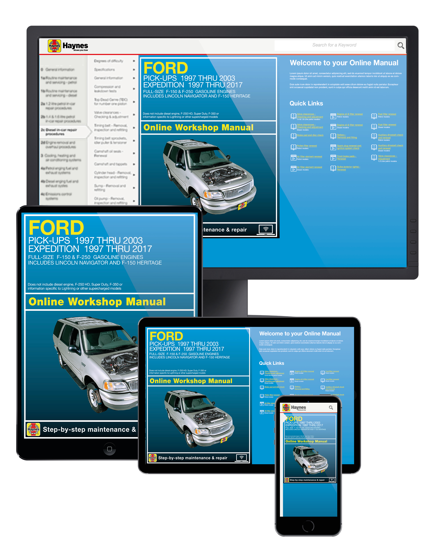 Ford F-150 (97-03), F-150 Heritage (04), F-250 (97-99), Expedition (97-17) & Lincoln Navigator (98-17) 2WD & 4WD Haynes Online Manual from Haynes Manuals US