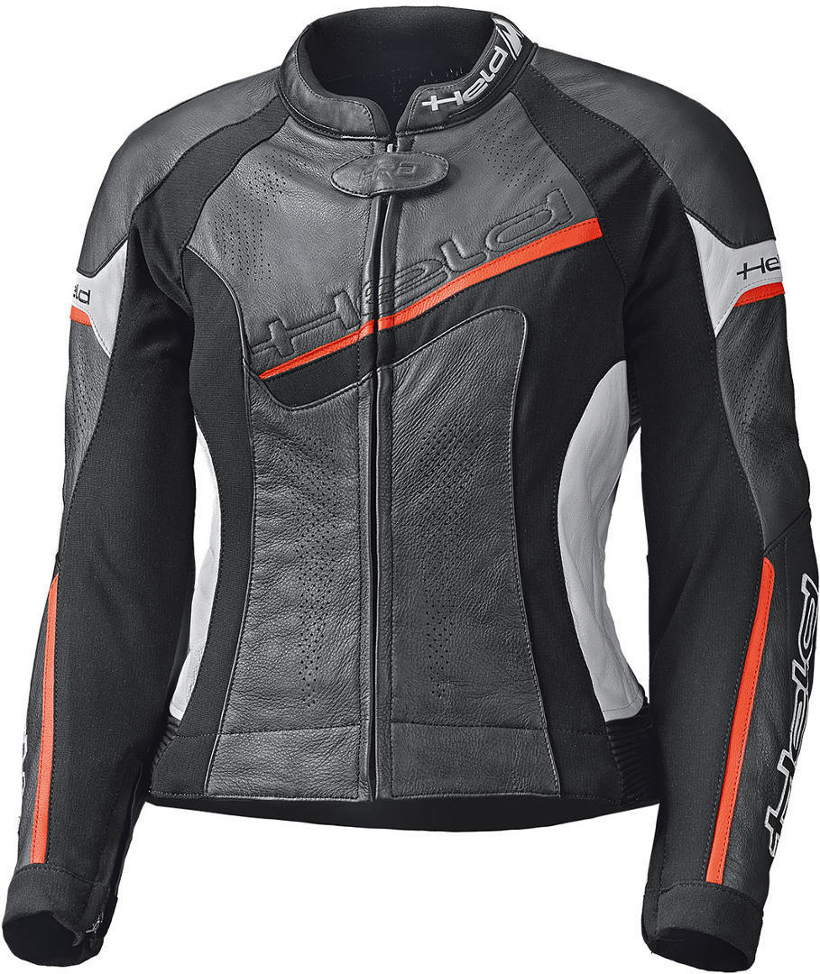 Held Debbie II Ladies Motorcycle Leather Jacket, black-white-red, Size 42 for Women, black-white-red, Size 42 for Women from Held
