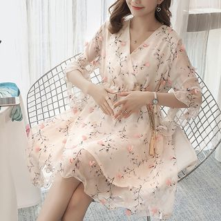Maternity Elbow-Sleeve Floral A-Line Chiffon Dress from Hiccup