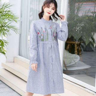 Maternity Embroidered Long-Sleeve Shirt Dress from Hiccup