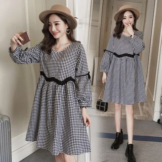 Maternity Gingham Long-Sleeve A-Line Dress from Hiccup