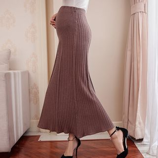 Maternity High Waist Midi Knit Skirt from Hiccup