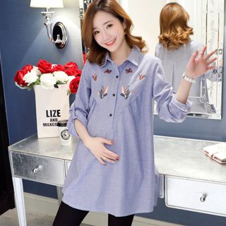 Maternity Long-Sleeve Embroidered Shirt from Hiccup