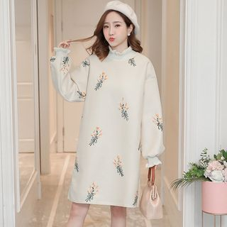 Maternity Long-Sleeve Floral Embroidery Midi Dress from Hiccup