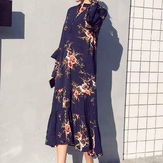 Maternity Long-Sleeve Floral Print Midi Dress from Hiccup