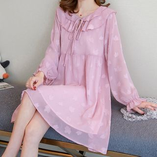 Maternity Long-Sleeve Mini Chiffon Dress from Hiccup