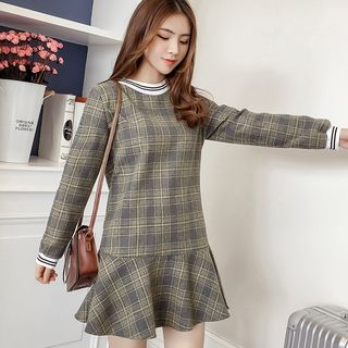 Maternity Long-Sleeve Ruffle Hem Plaid Mini Dress from Hiccup
