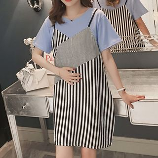 Maternity Mock Two-Piece Short-Sleeve Striped Dress from Hiccup