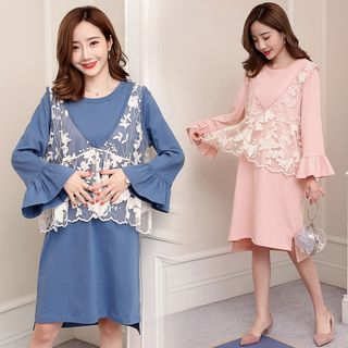Maternity Set: Bell-Sleeve T-Shirt Dress + Lace Vest from Hiccup