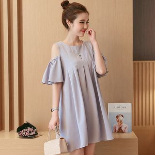 Maternity Short-Sleeve Cold-Shoulder Mini A-Line Dress from Hiccup