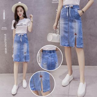 Denim Fitted Skirt from Hilsah