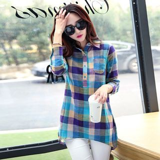 Long-Sleeve Plaid Top from Hilsah