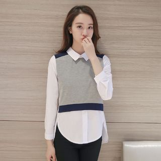 Mock Two-Piece Long-Sleeve Collared Top from Hilsah