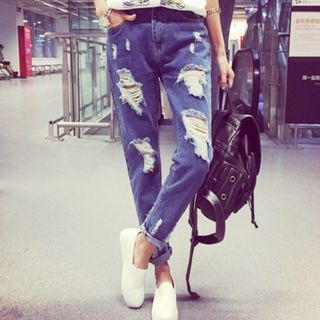 Ripped Cropped Jeans from Hilsah