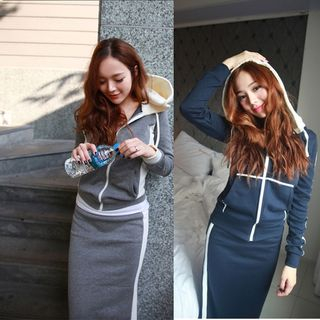 Set: Hooded Zip-Up Jacket + Midi Fitted Skirt from Hilsah