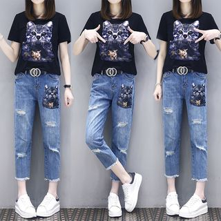 Set: Short-Sleeve Cat Print T-Shirt + Cropped Jeans from Hilsah