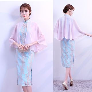 Panel Cape-Sleeve Floral Qipao from Hunya