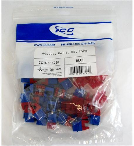 ICC ICC-IC107F6CBL MODULE, CAT 6, HD, 25PK, BLUE from ICC