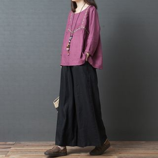 Embroidered Trim Blouse from INEN