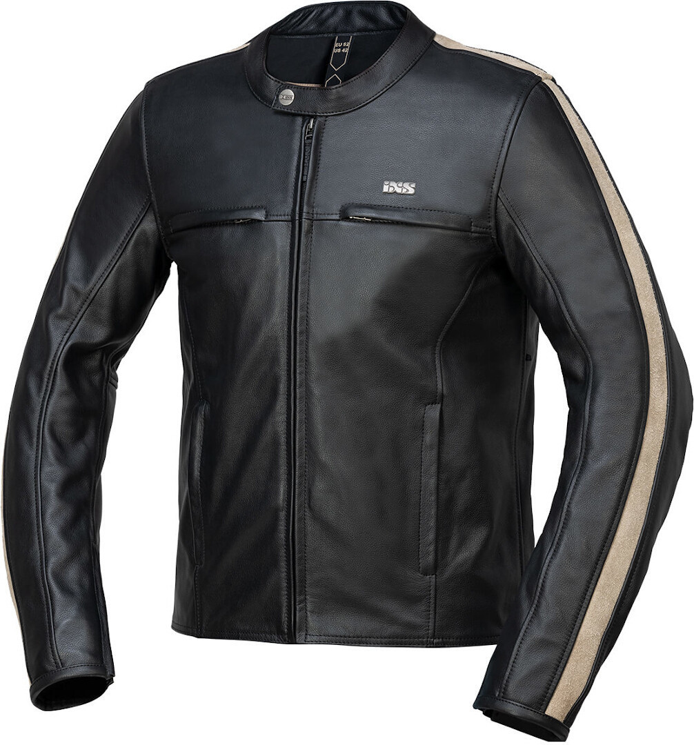 IXS Stripe Motorcycle Leather Jacket, black, Size 50, black, Size 50 from IXS