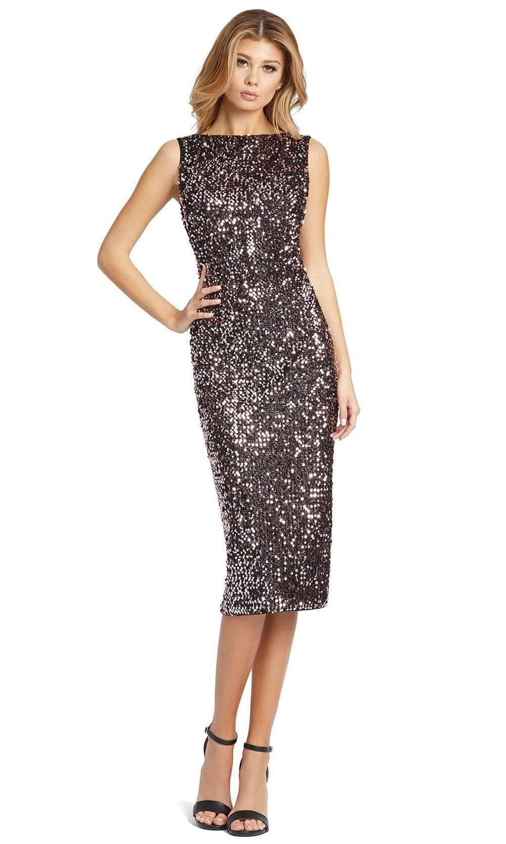 Ieena Duggal - 26438 High Bateau Neck Plunge Cowl Back Sequin Dress from Ieena Duggal
