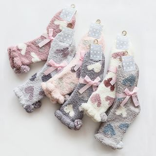 Heart Print Bobble Furry Socks from Ifish House