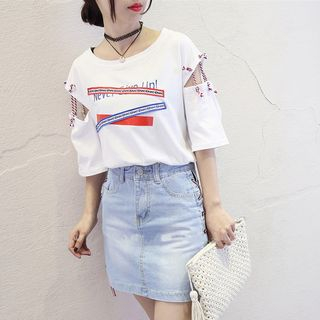Cold-Shoulder Short-Sleeve T-Shirt from Ilda