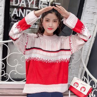 Long Sleeve Color Block Knit Sweater from Ilda