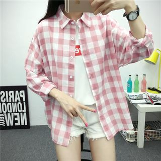 Long Sleeve Plaid Blouse from Ilda