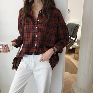 Long-Sleeve Plaid Blouse from Ilda