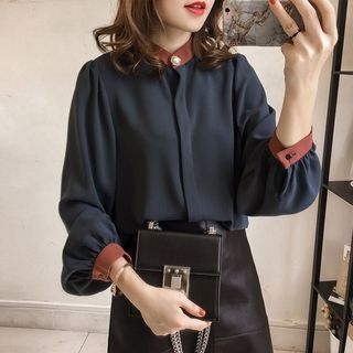 Long-Sleeve Plain Chiffon Blouse from Ilda