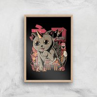 Ilustrata Catzilla Giclee Art Print - A3 - Wooden Frame from Ilustrata