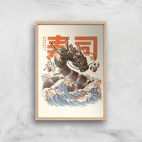 Ilustrata The Great Sushi Dragon Giclee Art Print - A2 - Wooden Frame from Ilustrata