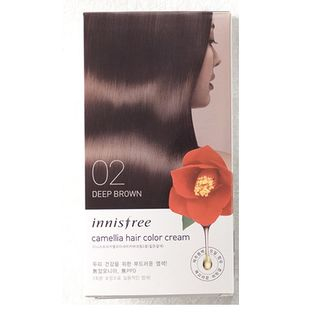 innisfree - Camellia Hair Color Cream (#02 Dark Brown): Hairdye 20g x 3 + Oxidizer 20g x 3, Hair Pack 8ml from innisfree