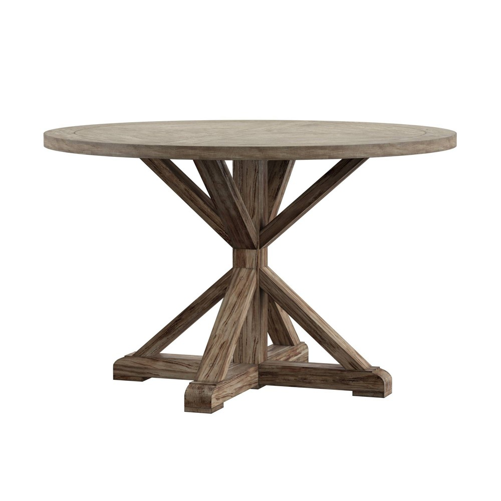 "48"" Sierra Round Farmhouse Pedestal Base Wood Dining Table Gray/Oak - Inspire Q from Inspire Q"