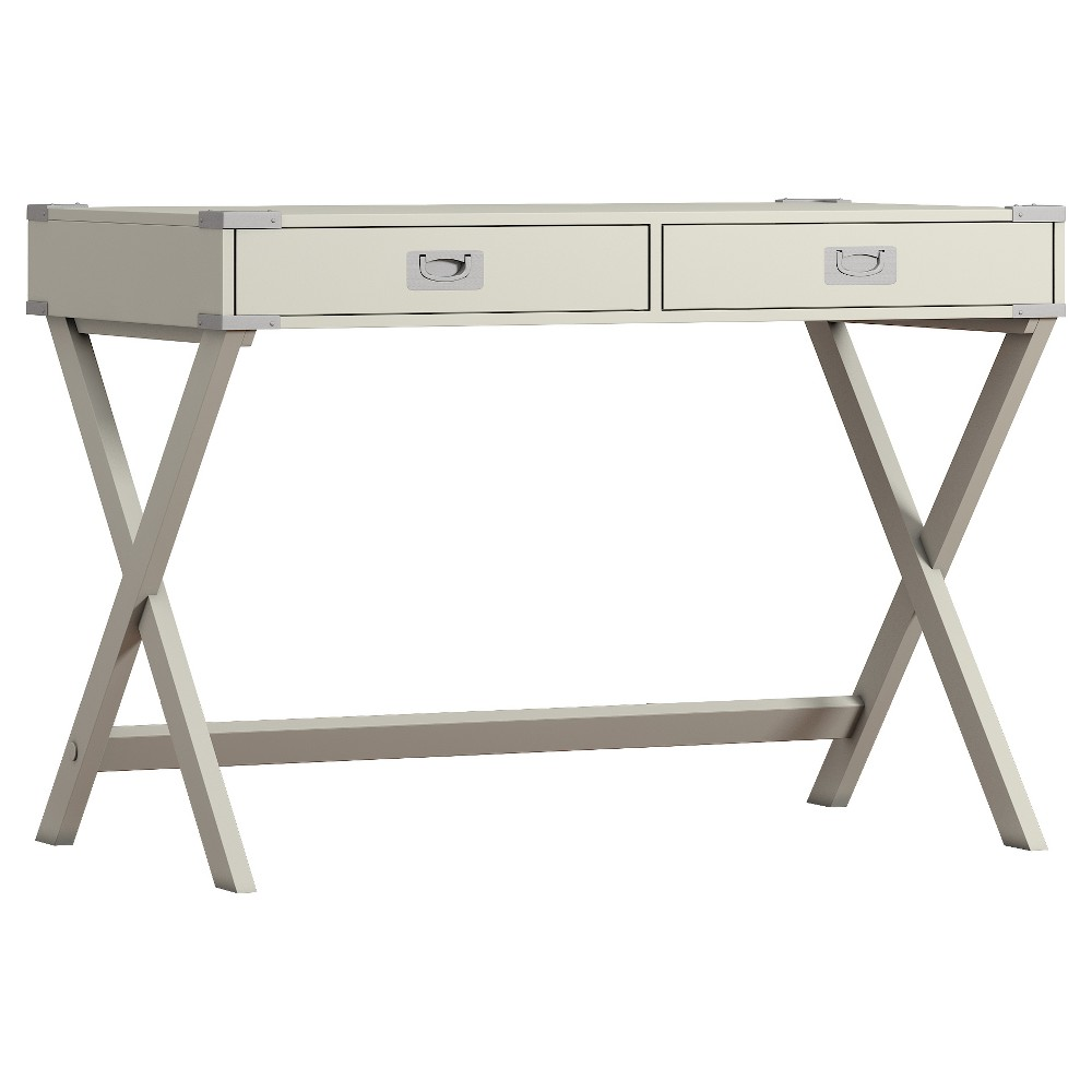 Kenton Wood Writing Desk with Drawers Silver Putty - Inspire Q from Inspire Q