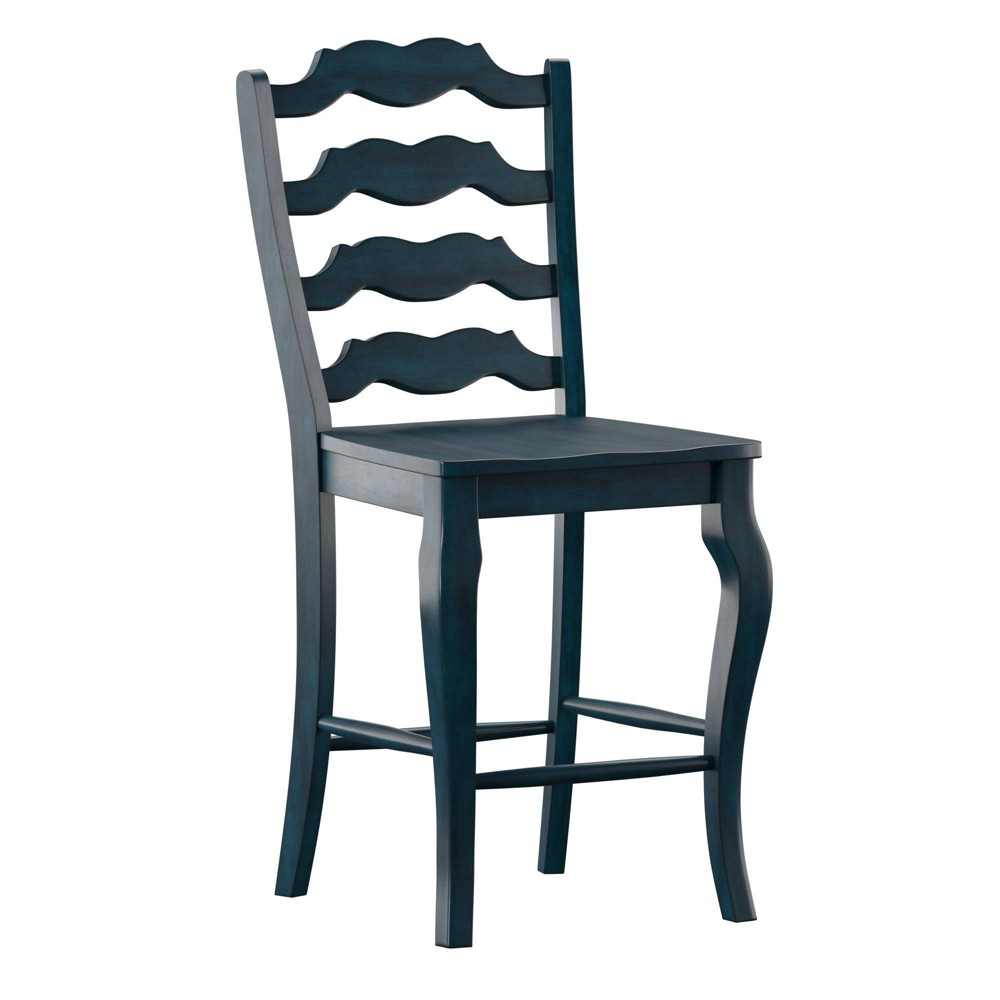 "Set of 2 24"" South Hill French Ladder Back Counter Chairs Denim - Inspire Q from Inspire Q"