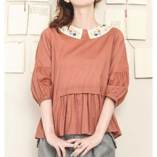 3/4-Sleeve Ruffle Trim Blouse from Ivanica