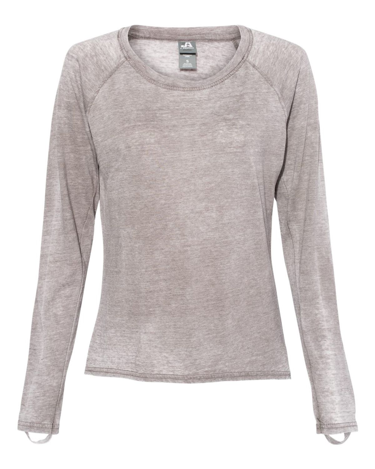 J America 8118 Women's Zen Jersey Hi-Low Long Sleeve T-Shirt - Cement - S from J America
