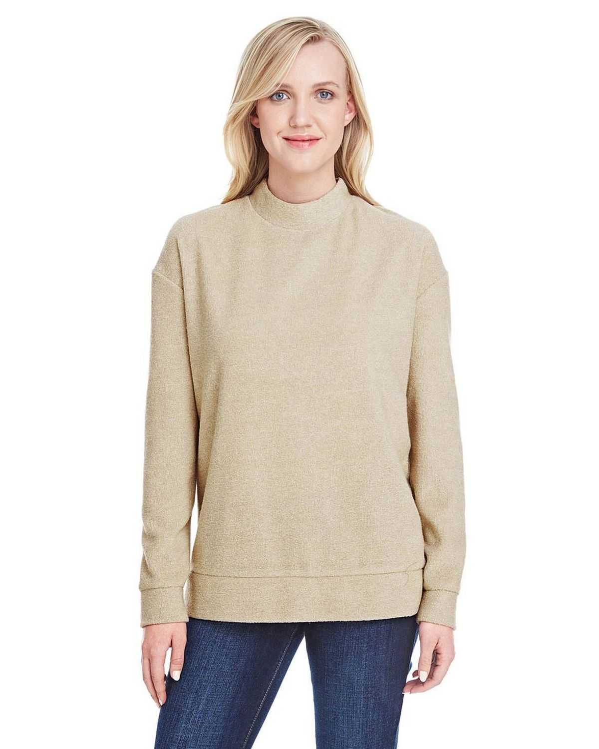 J America JA8428 Women's Weekend French Terry Mock Neck Crew T-Shirt - Natural - XS from J America