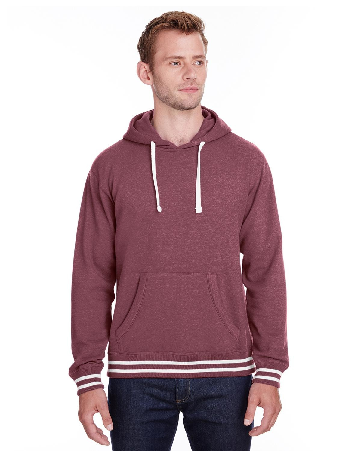 J America JA8649 Men's Relay Hooded Sweatshirt - Maroon - S from J America