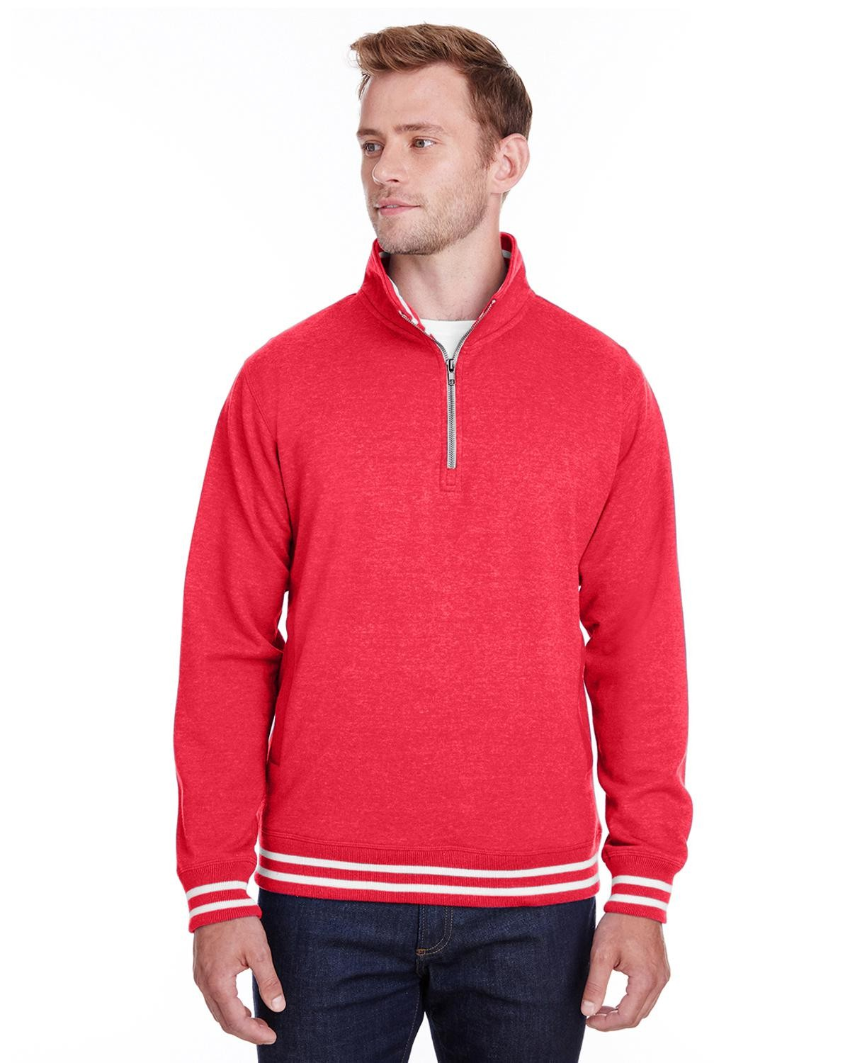 J America JA8650 Men's Relay Quarter-Zip - Red - S from J America