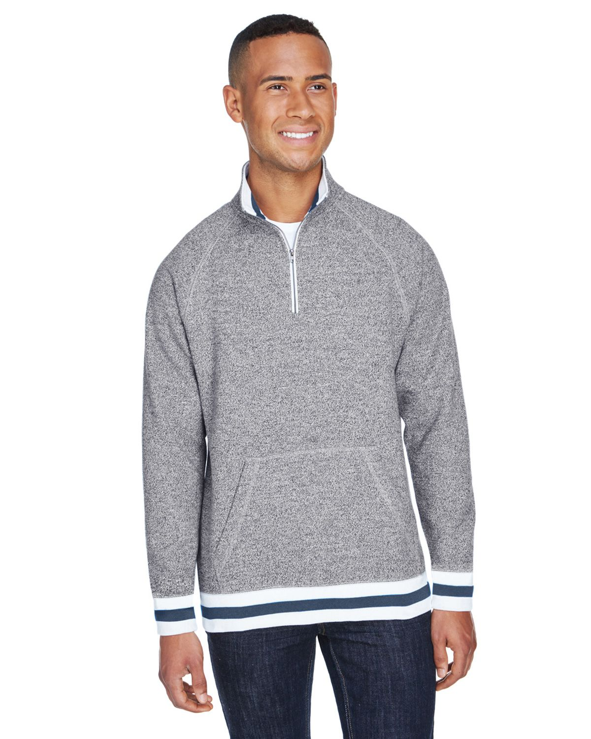J America JA8703 Adult Peppered Fleece Quarter-Zip - Pepper Navy - S from J America