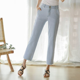 Band-Waist Straight-Cut Jeans from JUSTONE