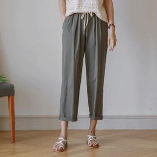 Linen Blend Wide-Leg Pants from JUSTONE